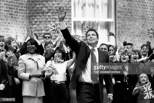 Tony Blair MP arrives in Downing Street after his landslide victory. The Prime Minister was photographed via special access behind the scenes during...