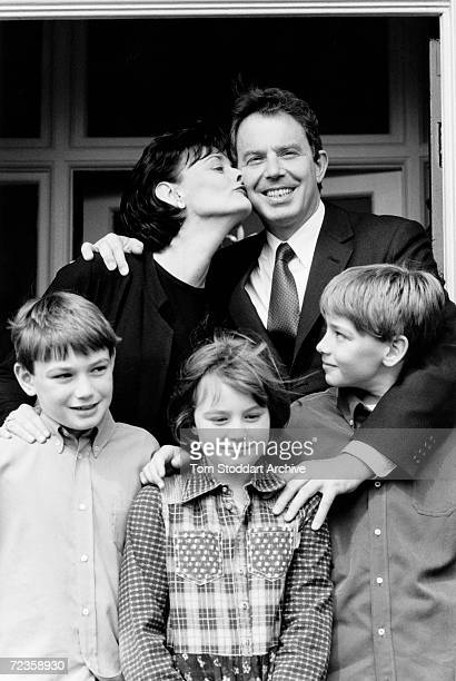 Tony Blair MP his wife Cherie and their three children are seen during the 1997 General Election campaign trail The future Prime Minister was...