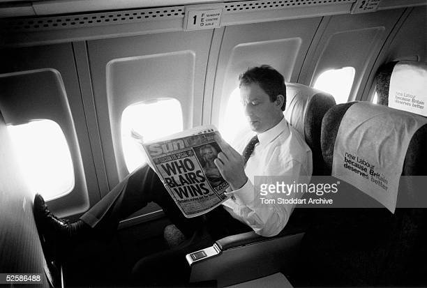 Tony Blair MP is seen during the 1997 General Election campaign trail. The future Prime Minister was photographed via special access behind the...