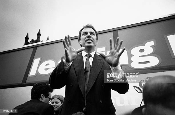 Tony Blair MP is seen during the 1997 General Election campaign trail The future Prime Minister was photographed via special access behind the scenes...