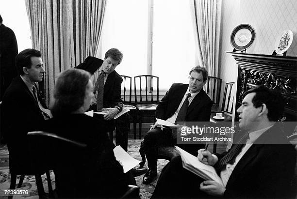 Tony Blair MP is seen during the 1997 General Election campaign trail alongside Gordon Brown Peter Mandelson and Alastair Campbell The future Prime...