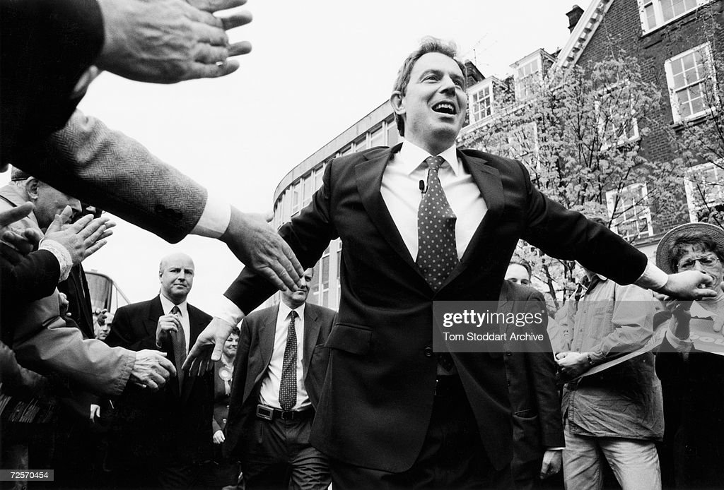 Tony Blair MP is seen during the 1997 General Election campaign trail. The future Prime Minister was photographed via special access behind the scenes during the campaign.