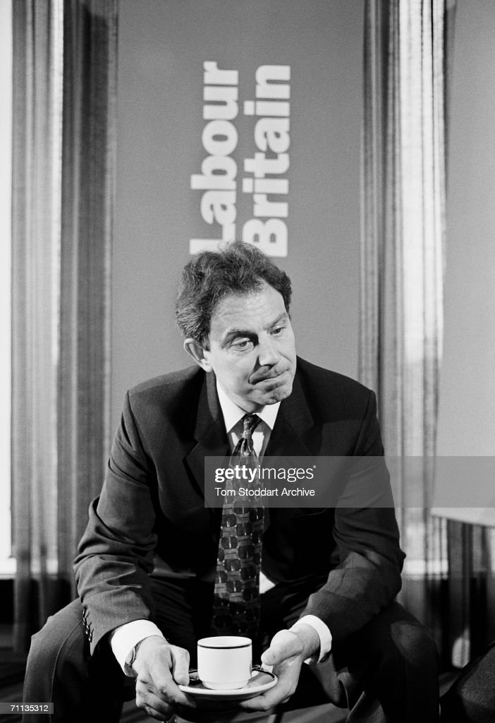 Tony Blair MP looks pensive with a cup of tea while being interviewed during his successful 1997 General Election campaign to become Britain's first Labour Prime Minister since 1979.