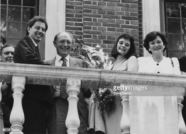 Tony Blair Neil Kinnock and Cherie Blair celebrate Blair's victory in the Labour Party leadership election 21st July 1994