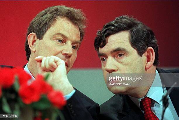 Tony Blair , opposition Labour party leader,and Gordon Brown, shadow chancellor, confer 10 April at an campaign press conference. Asked about latest...