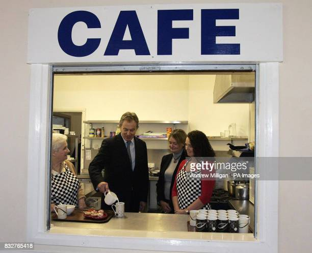 Tony Blair pours himself a cup of tea whilst meeting The Stepping Stones for Families Childcare Works group at the Glenburnie Centre in Glasgow The...