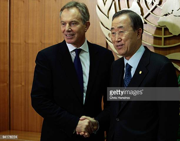Tony Blair representing The Quartet on the Middle East shakes hands with UN Secretary General Ban Kimoon December 9 2009 at the United Nations in New...