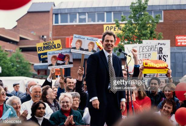 Tony Blair, the British Labour Party leader, campaigning during the 1997 General Election, in Mitcham, London on April 24, 1997.