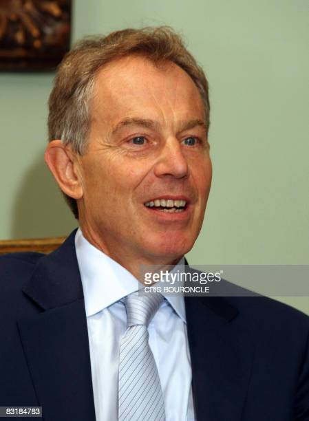 Tony Blair the diplomatic Quartet's envoy to the Middle East meets with Egyptian President Hosni Mubarak in Cairo on October 9 2008 Blair is in Cairo...