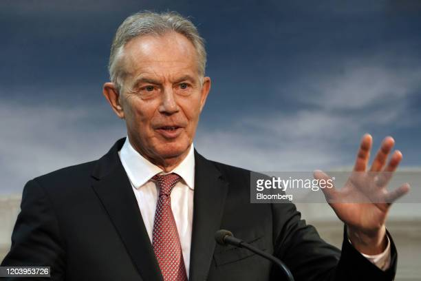Tony Blair UK's former prime minster gestures as he speaks during a news conference following a meeting with Joko Widodo Indonesia's president not...