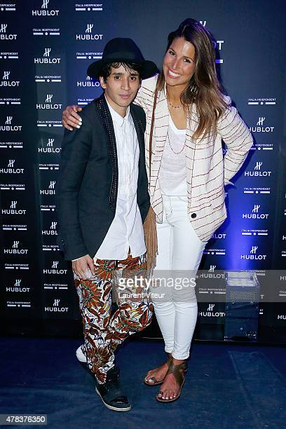 Tony Boccara and Miss France 2011 Laury Thillemanattend the Hublot Blue Coktail at Mr Bleu at Palais de Tokyo on June 24 2015 in Paris France