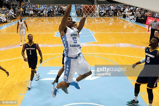 Tony Bradley of the North Carolina Tar Heels dunks the ball against the Chattanooga Mocs at the Dean Smith Center on November 13 2016 in Chapel Hill...