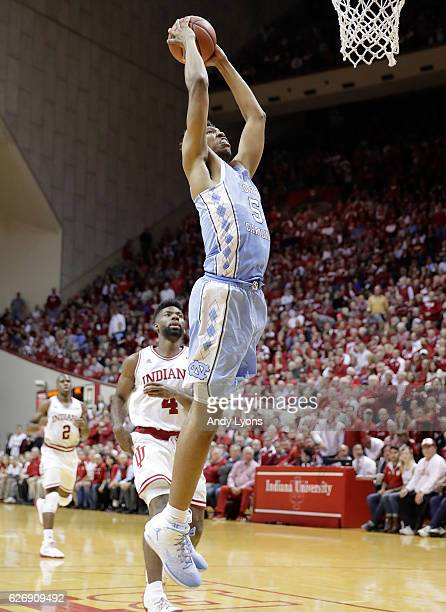 Tony Bradley of the North Carolina Tar Heels dunks the ball during the game against the Indiana Hoosiers at Assembly Hall on November 30 2016 in...