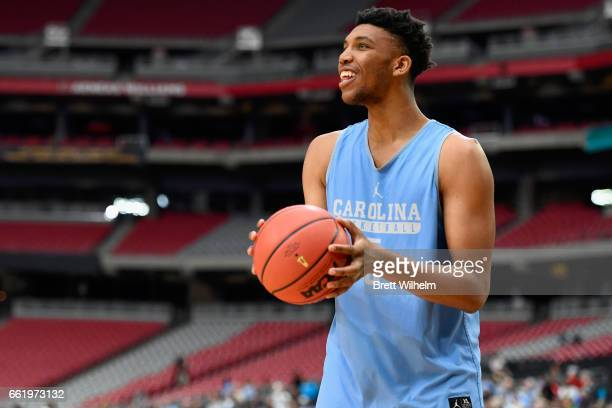 Tony Bradley of the North Carolina Tar Heels practices ahead of the 2017 NCAA Men's Final Four at University of Phoenix Stadium on March 31 2017 in...