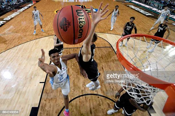 Tony Bradley of the North Carolina Tar Heels shoots the ball during the 2017 NCAA Men's Final Four National Championship game against the Gonzaga...