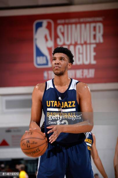 Tony Bradley of the Utah Jazz shoots a free throw against the Milwaukee Bucks during the 2017 Summer League on July 14 2017 at Cox Pavillion in Las...