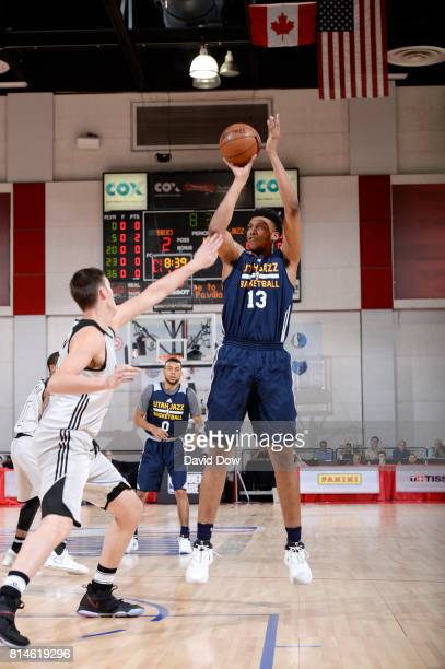 Tony Bradley of the Utah Jazz shoots the ball against the Milwaukee Bucks during the 2017 Summer League on July 14 2017 at Cox Pavillion in Las Vegas...