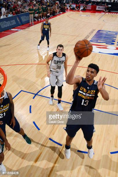 Tony Bradley of the Utah Jazz shoots the ball during the game against the Los Angeles Clippers during the 2017 Las Vegas Summer League on July 9 2017...