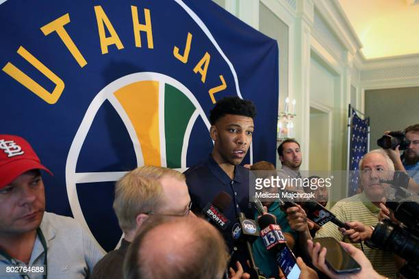 Tony Bradley of the Utah Jazz speaks to the press after being selected in the 2017 draft at Grand America Hotel on June 28 2017 in Salt Lake City...