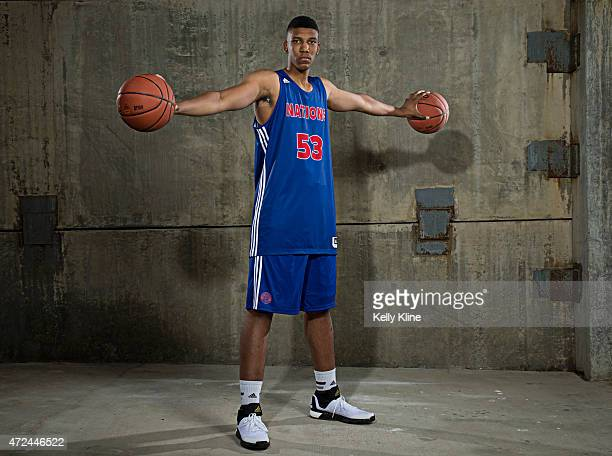 Tony Bradley poses for a portrait during Adidas Nations Atlanta on May 1 2015 at the JW Marriott in Atlanta Georgia