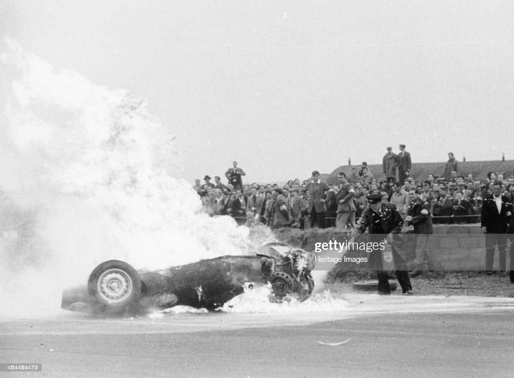 Tony Brooks\' car on fire at the British Grand Prix, Silverstone ...