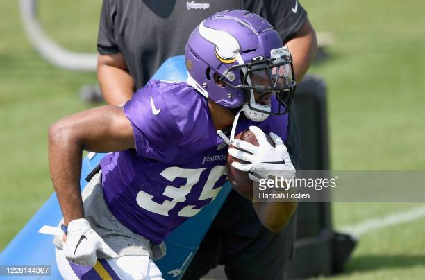 Tony BrooksJames of the Minnesota Vikings runs a drill during training camp on August 21 2020 at TCO Performance Center in Eagan Minnesota
