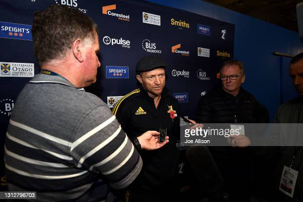 Tony Brown head coach of the Highlanders answers questions from the media following the round eight Super Rugby Aotearoa match between the...