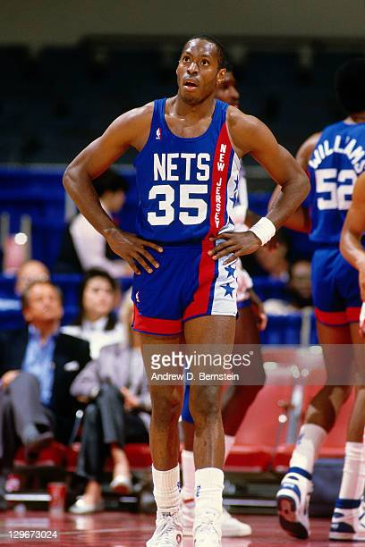 Tony Brown of the New Jersey Nets stands against the Los Angeles Clippers circa 1987 at the LA Sports Arena in Los Angeles California NOTE TO USER...