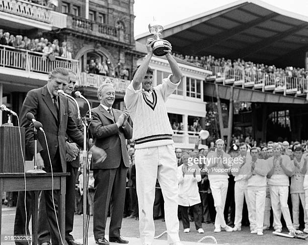 Tony Brown raises the trophy after Gloucestershire had defeated Sussex in the Gillette Cup Final at Lord's Cricket Ground in London 1st September...