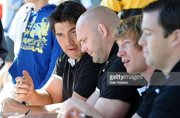 Tony Buckley of the Irish Rugby team chats with team mate John Hayes during a fan session at Brothers Rugby Club, Albion on June 20, 2010 in...