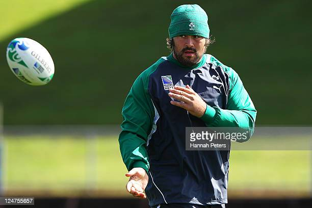 Tony Buckley warms up during an Ireland IRB Rugby World Cup 2011 training session at Mt Smart Stadium on September 13 2011 in Auckland New Zealand