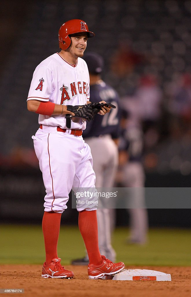 Tony Campana #22 of the Los Angeles Angels of Anaheim smiles during the game against the Seattle Mariners on September 16, 2014 at Angel Stadium of Anaheim in Anaheim, California.
