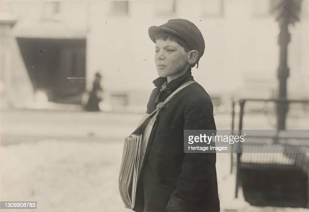 """Tony Casale, """"Bologna,"""" 11 years old been selling newspapers for 4 years, Hartford, Connecticut, March 1909, 3348. Artist Lewis Wickes Hine. ."""
