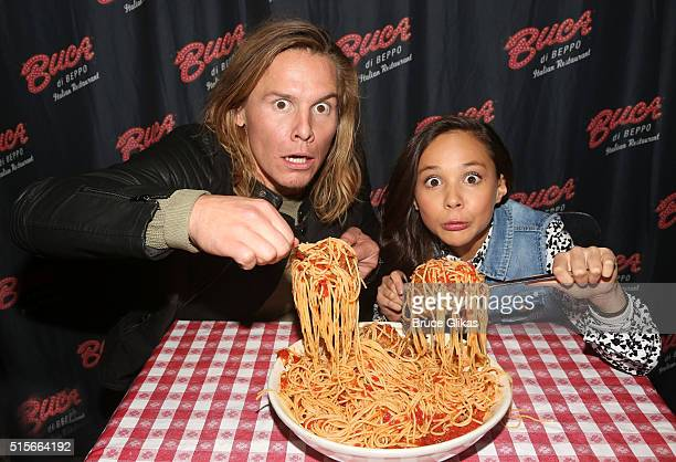 Tony Cavalero and Breanna Yde promote thier New Nickelodeon TV Series 'School Of Rock' at Buca di Beppo Times Square on March 14 2016 in New York City