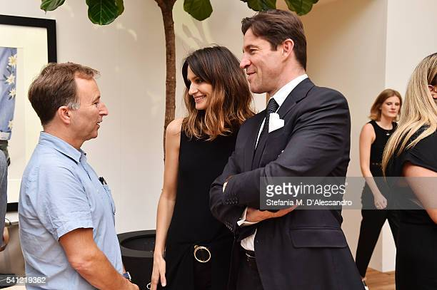 Tony Chambers and Isabelle Kountoure with Bally CEO Frédéric de Narp at the Bally Mens Spring Summer 2017 Presentation in Milan on June 19 2016 in...