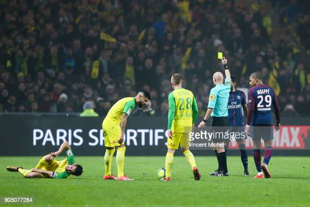 Tony Chapron referee during the Ligue 1 match between FC Nantes and Paris Saint Germain at Stade de la Beaujoire on January 14 2018 in Nantes France