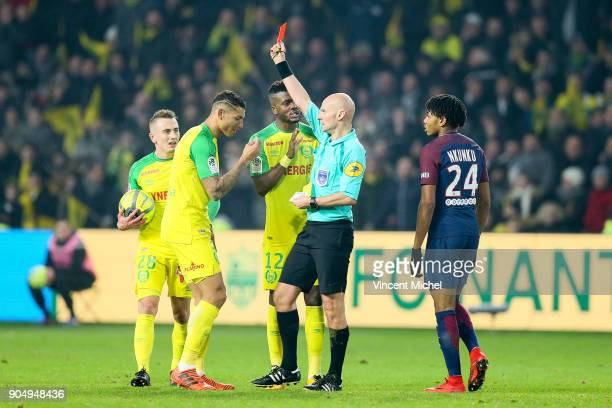 Tony Chapron referee give a red card for Diego Carlos of Nantes during the Ligue 1 match between FC Nantes and Paris Saint Germain at Stade de la...