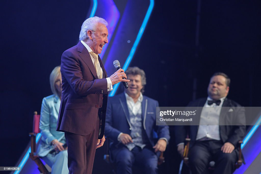 Tony Christie, Andy Borg and Paul Potts perform on stage during the tv show 'Willkommen bei Carmen Nebel' at Tempodrom on April 7, 2016 in Berlin, Germany.