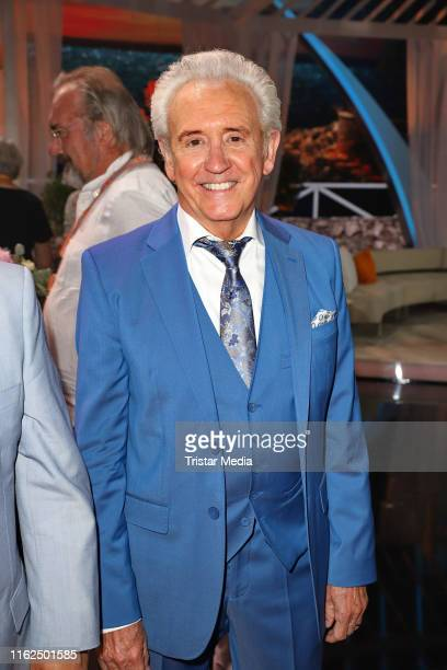 """Tony Christie during the television show """"Willkommen bei Carmen Nebel"""" at Baden-Arena on July 13, 2019 in Offenburg, Germany."""