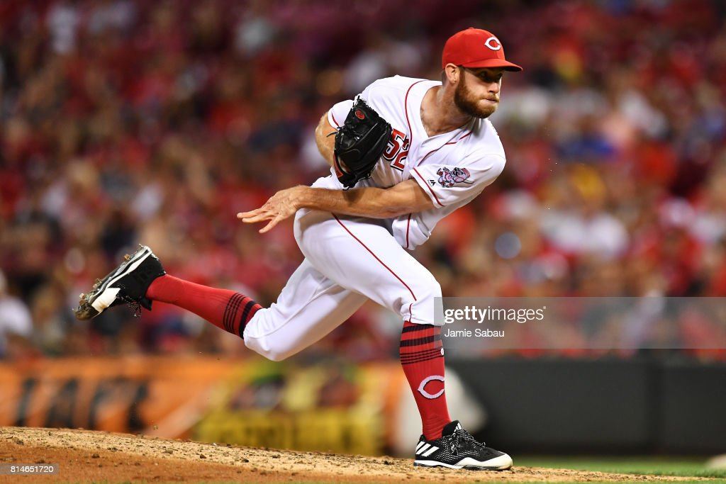 Tony Cingrani #52 of the Cincinnati Reds pitches in the ninth inning against the Washington Nationals at Great American Ball Park on July 14, 2017 in Cincinnati, Ohio. Washington shut out Cincinnati 5-0.