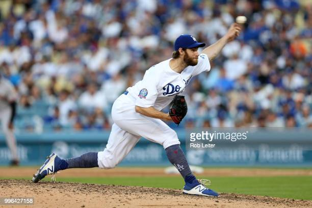 Tony Cingrani of the Los Angeles Dodgers pitches during the game against the San Francisco Giants at Dodger Stadium on Thursday March 29 2018 in Los...