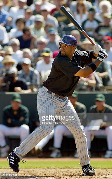 Tony Clark the Arizona Diamondbacks bats during the MLB spring training game against the Oakland Athletics on March 7 2005 at Phoenix Municipal...