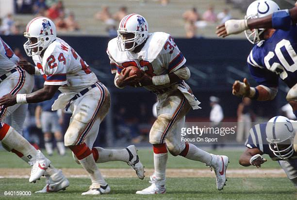Tony Collins of the New England Patriots carries the ball against the Baltimore Colts during an NFL football game September 12 1982 at Memorial...