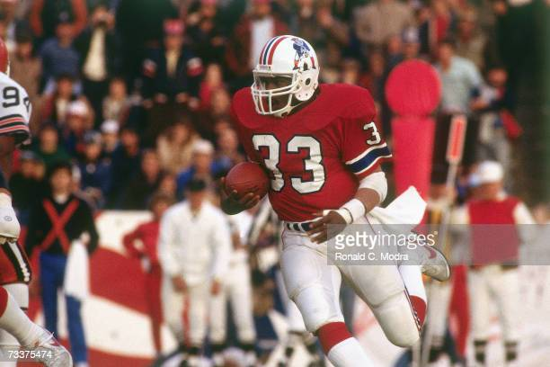 Tony Collins of the New England Patriots carries the ball against the Cleveland Browns on November 20 1983 in Foxboro Massachusetts