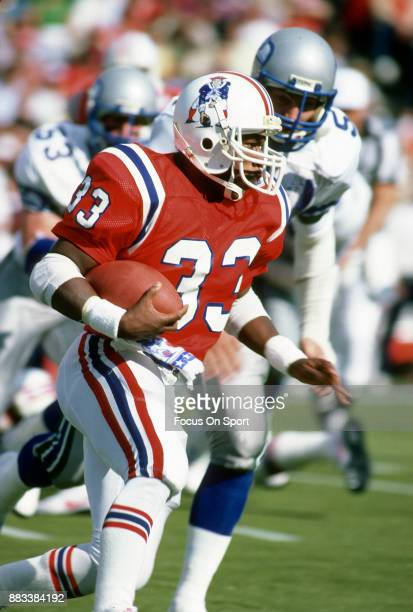 Tony Collins of the New England Patriots carries the ball against the Seattle Seahawks during an NFL football game September 16 1984 at Sullivan...