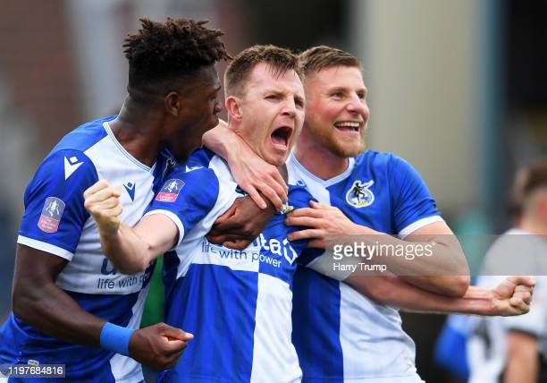 Tony Craig of Bristol Rovers celebrates after scoring his team's second goal during the FA Cup Third Round match between Bristol Rovers and Coventry...