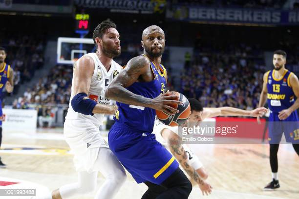 Tony Crocker #5 of Khimki Moscow Region in action during the 2018/2019 Turkish Airlines EuroLeague Regular Season Round 7 game between Real Madrid...