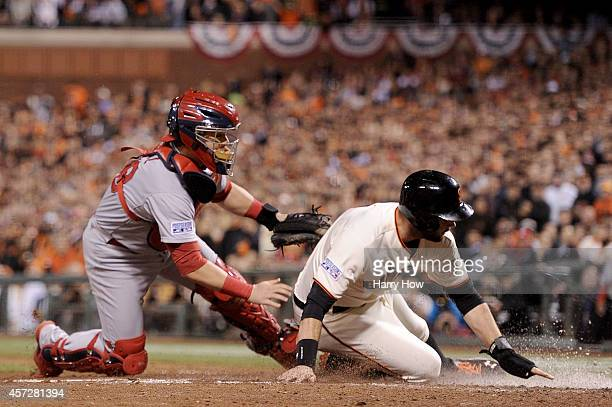 Tony Cruz of the St Louis Cardinals tags out Brandon Belt of the San Francisco Giants in the seventh inning for the second out during Game Four of...