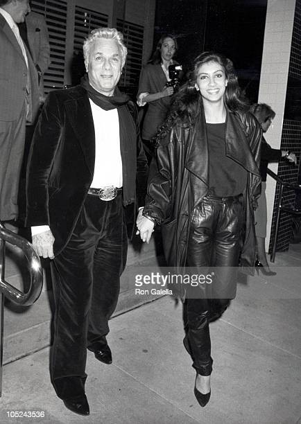 Tony Curtis and Alice Cox during Outside Nicky Blair Restaurant at Nicky Blair Restaurant in Los Angeles California United States