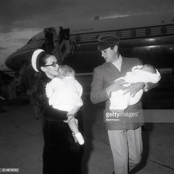 Tony Curtis and second wife Christine Kaufman land in Rome with daughters Allegra and Allessandra where Curtis has a part in a movie 1966